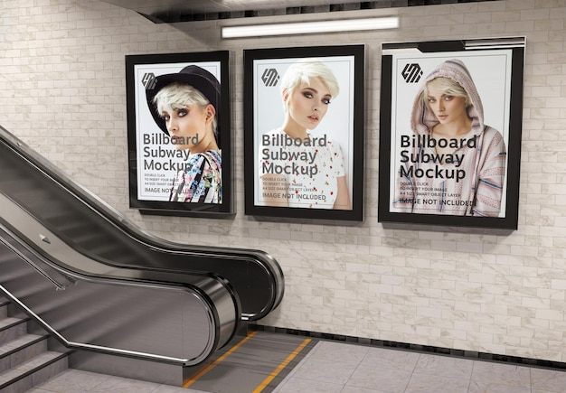 Three vertical billboards in subway station mockup