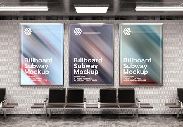 Three vertical billboards in subway station mockup
