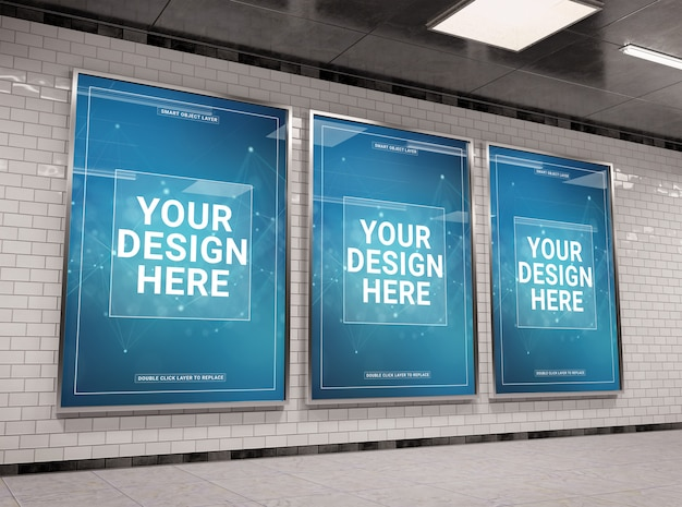 Three vertical underground billboard in tunnel mockup