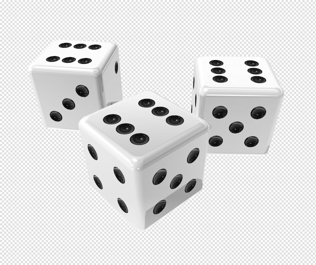 Three white dices