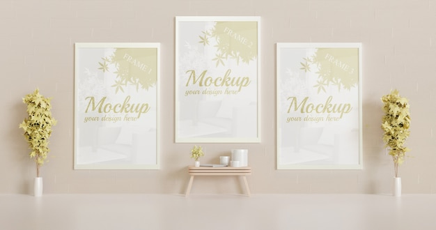 Three white frame mockup on the wall with decorative plants