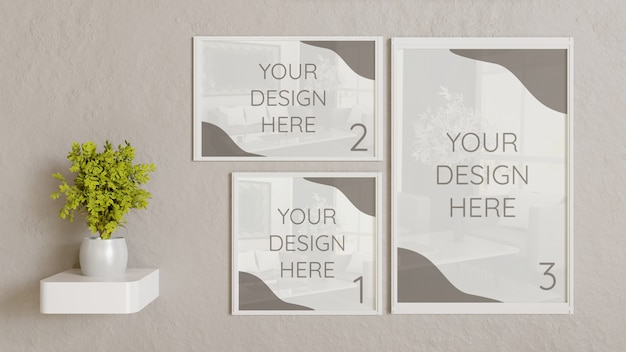 Three white frame mockup with different size on wall