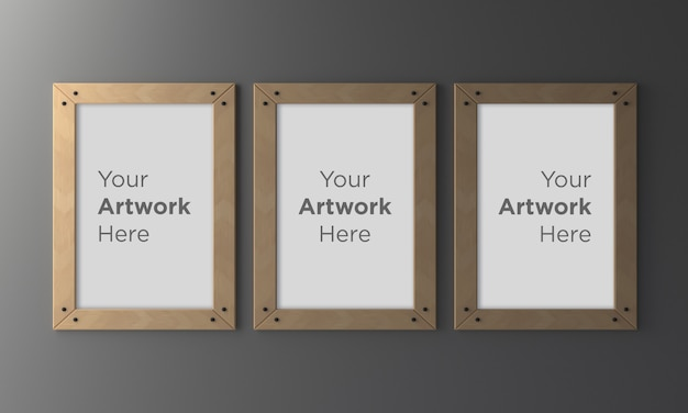 Three wooden empty photo frame mockup design