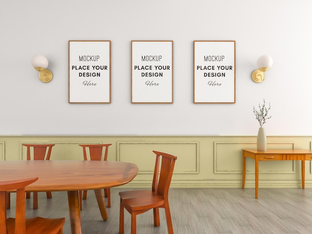 Three wooden frames on wall with minimalist wood dining chair