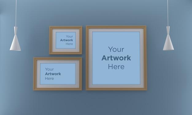 Three wooden photo frame mockup design