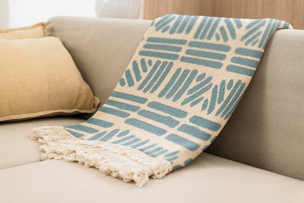Бросьте одеяло, макет psd, винтажный дизайн с принтом блоков