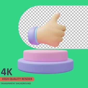 엄지손가락 3d 평가 유효성 검사 아이콘 그림 고품질 렌더링