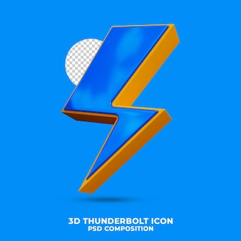 Thunderbolt icon 3d render isolated
