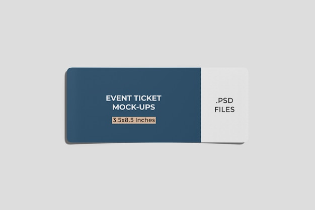 Ticket/ boarding pass mockup top angle view