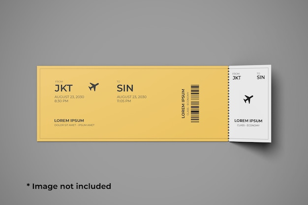 Ticket mockup top angle view