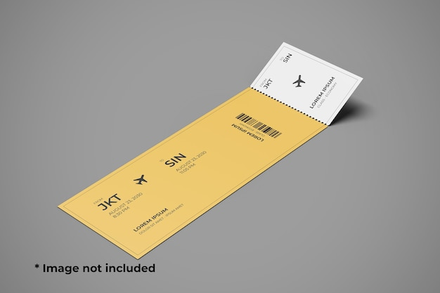 Ticket mockup top left angle view