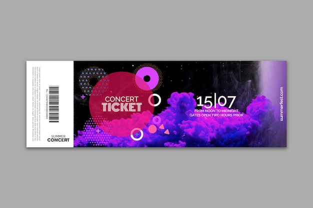 Ticket template for summer festival