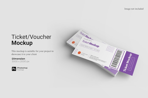 Ticket voucher mockup design isolated