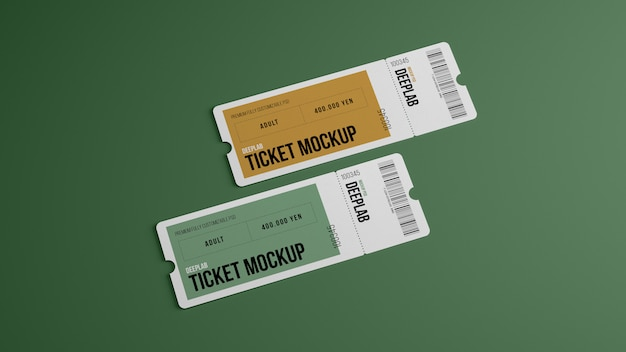 Tickets with editable  color mockup