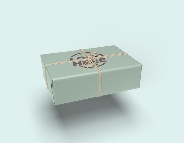 Tied string box mockup design isolated