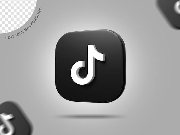 Tiktok 3d logo социальные медиа рендеринг фон редактируемый ico