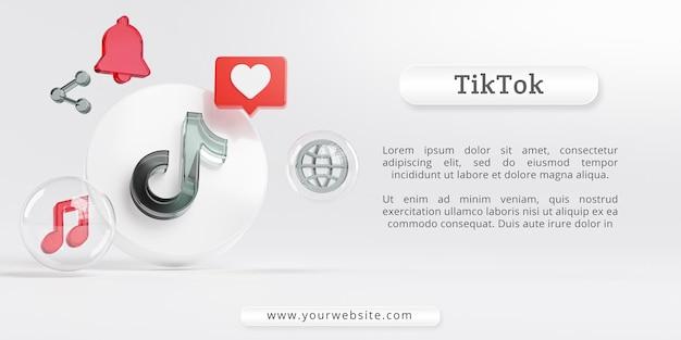 Tiktokアクリルガラスのロゴとソーシャルメディアのアイコン