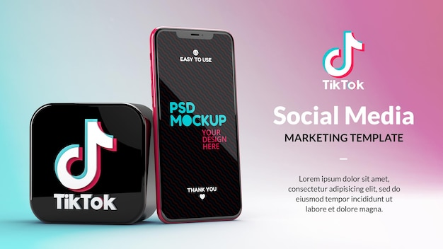 Tiktok app icon and phone screen mockup in 3d rendering