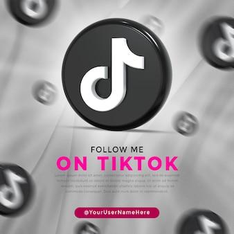 Tiktok 광택 로고 및 소셜 미디어 포스트 템플릿