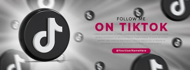 Tiktok glossy logo and social media icons web banner