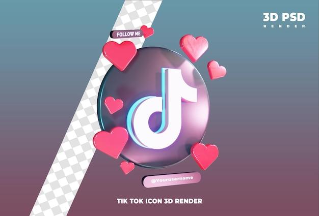 사랑 3d 렌더링 아이콘 배지 절연 tiktok 아이콘