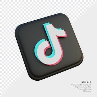 고립 된 둥근 모서리 사각형에 tiktok 아이소메트릭 3d 스타일 로고 개념 아이콘