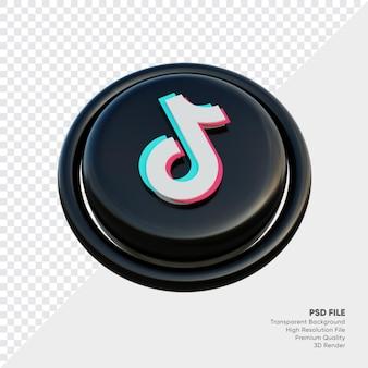 절연 라운드에서 tiktok 아이소메트릭 3d 스타일 로고 개념 아이콘