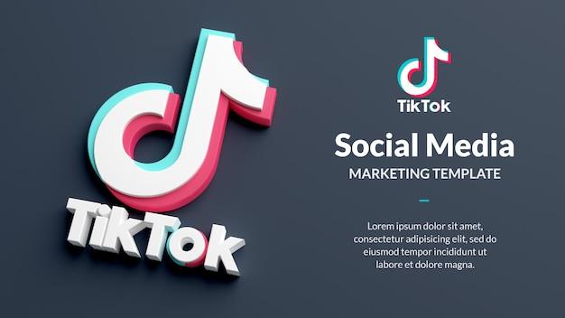 Tiktok 로고는 3d 렌더링에서 소셜 미디어 마케팅을 격리합니다.