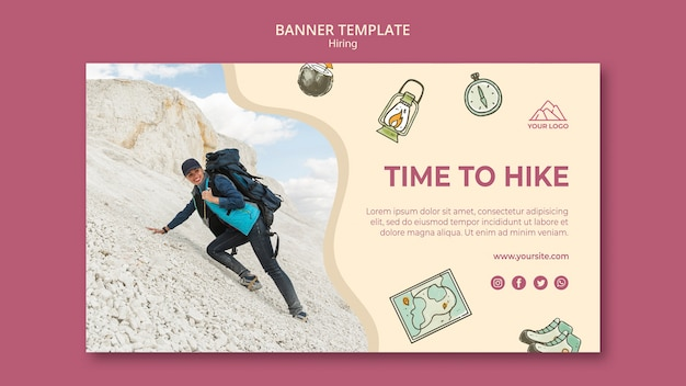 Time to go hiking banner template
