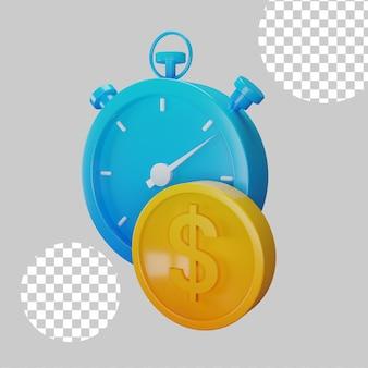 시간은 돈 개념 3d 그림입니다