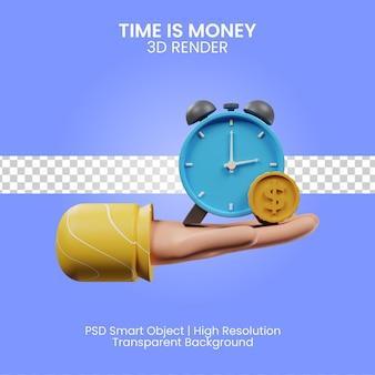 Время - деньги значок 3d визуализации изолированные