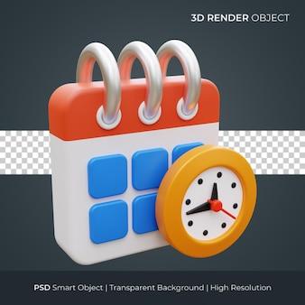 時間管理アイコン3dレンダリングイラスト分離プレミアムpsd