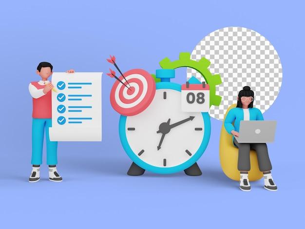 時間管理は、ランディングページの概念を示しています。 3dイラスト