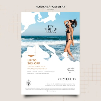 Time to relax travel poster template