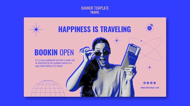 Шаблон горизонтального баннера time tot travel