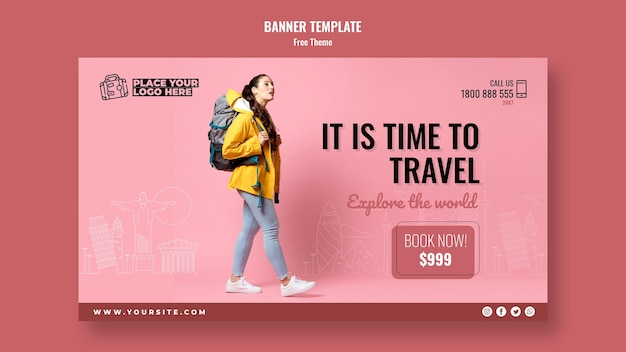 Time to travel banner template with photo