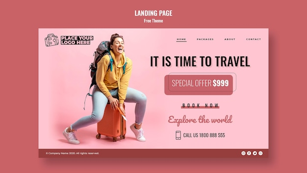 Time to travel landing page template with photo