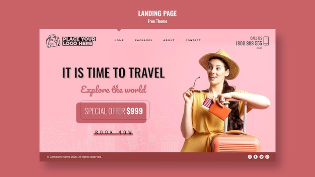 Time to travel landing page template
