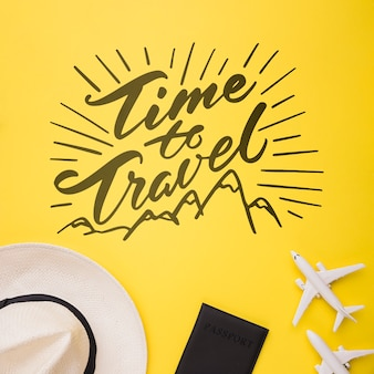 Time to travel, lettering with airplane, passport and hat