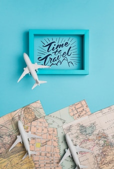 Time to travel, motivational lettering quote for holidays traveling concept