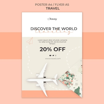 Time to travel  with discount poster template