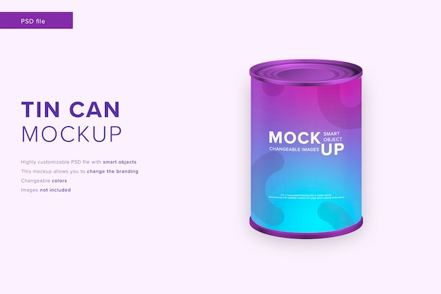 Tin can mockup in modern design style