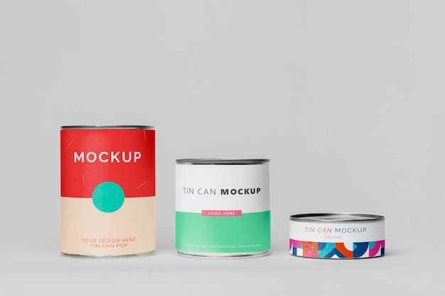 ブリキ缶はモックアップデザインをポップできます