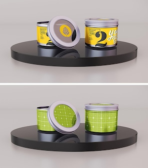 Tin candle mockup design in 3d rendering