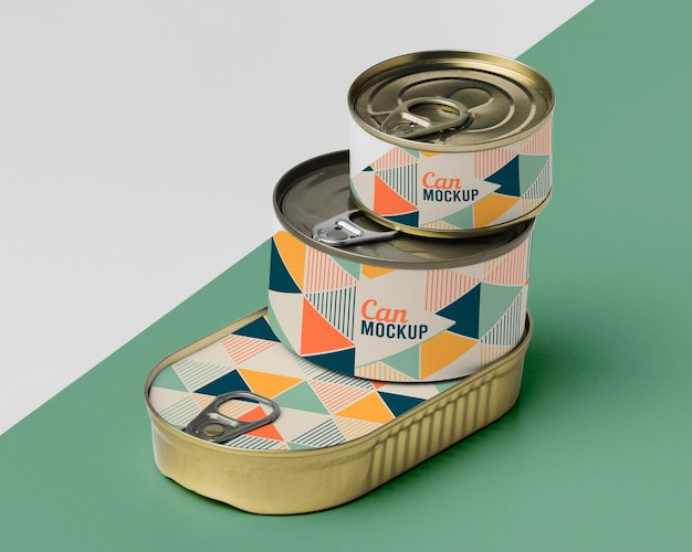 Tin cans stacked