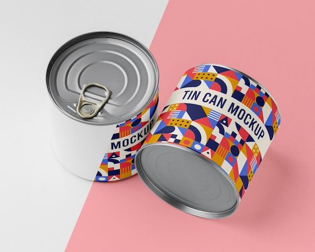 Tin cans on table