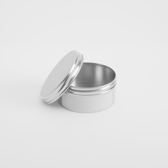 Tin container product mockup in 3d rendering