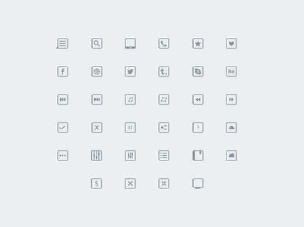 Piccole icone collezione psd