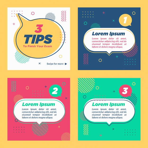Tips social media collection template psd