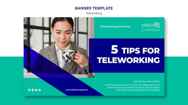 Tips for teleworking banner template